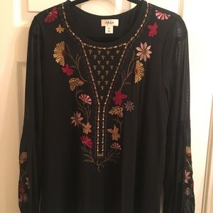 Never worn—Style & Co black embroidered blouse.
